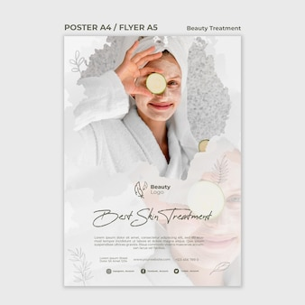 Beauty treatment concept flyer template