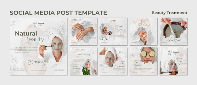 Beauty treatment concept social media post template