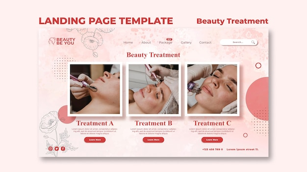 Beauty treatment landing page