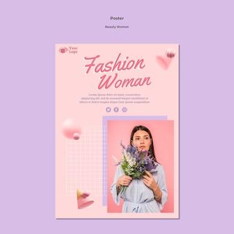 Modello del manifesto di concetto di donna di bellezza