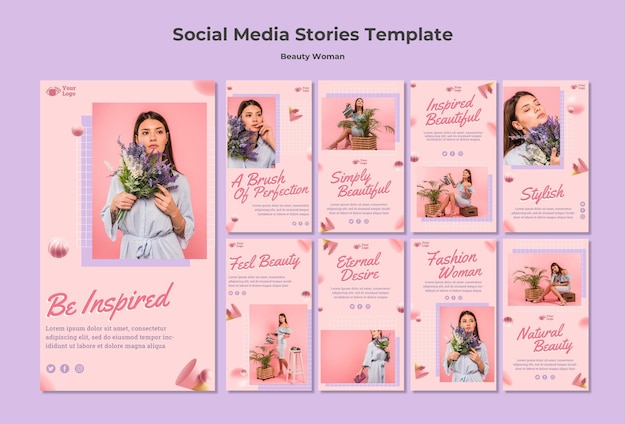Beauty woman concept social media stories template