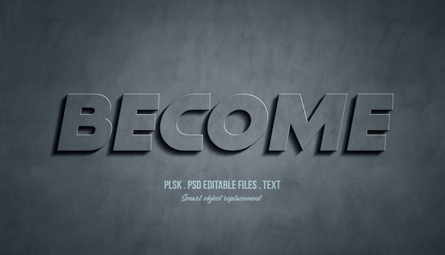 Become 3d text style effect