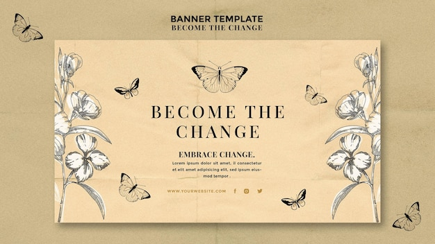 Become the change butterfly banner