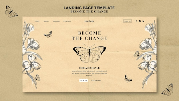 Become the change butterfly landing page