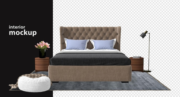 Bed and desk,lamp mockup 3d rendering isolated