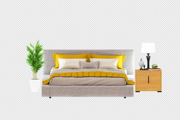 Кровать интерьер 3d-рендеринга изолированные