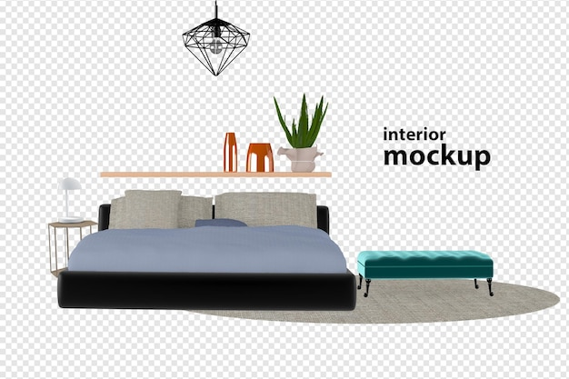 Bed interior mockup 3d rendering isolated