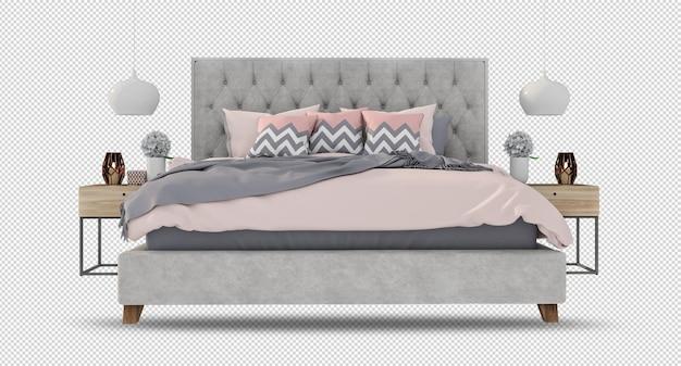 Макет кровати в 3d-рендеринге изолирован