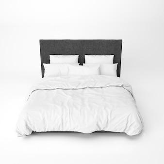 黒いベッドのヘッドレストが付いているベッドのモックアップ