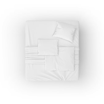 Bed mockup with white sheets and pillows