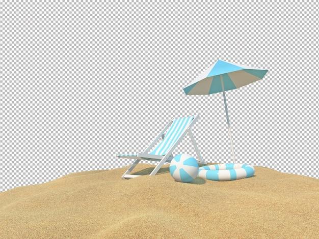 Постельный гарнитур на пляже с изолированным фоном