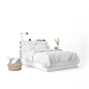 Bed with white sheets mockup and decorative elements