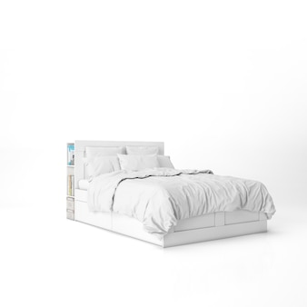 Bed with white sheets mockup