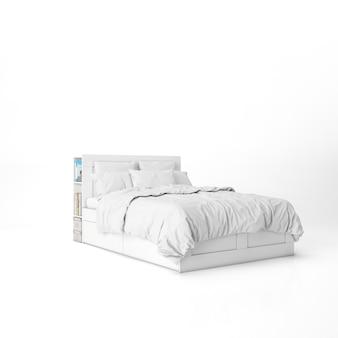 白いシーツのモックアップ付きベッド