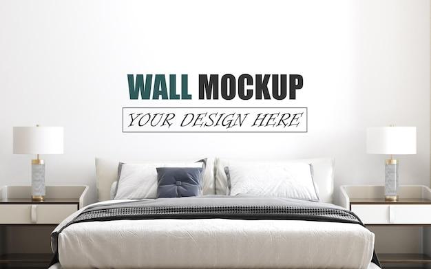 현대적인 스타일의 벽 모형으로 설계된 침실