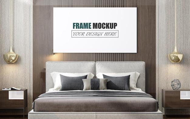 モダンなスタイルの壁のモックアップで設計されたベッドルーム