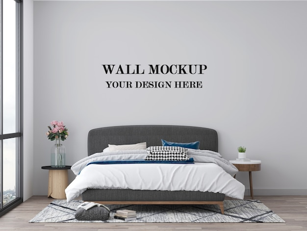 Bedroom empty wall mockup 3d visualization
