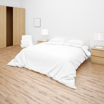 Bedroom or hotel room with double bed with white bed comforter or quilt, wooden furniture and parquet floor