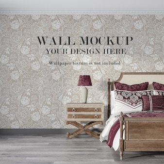 Bedroom mockup for wall surface behinf bed Premium Psd
