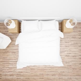 白いベッドの掛け布団または掛け布団、木製家具、寄木細工の床、トップビューとダブルベッド付きのベッドルームまたはホテルの部屋