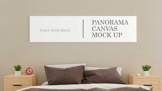 Bedroom panorama canvas mock up