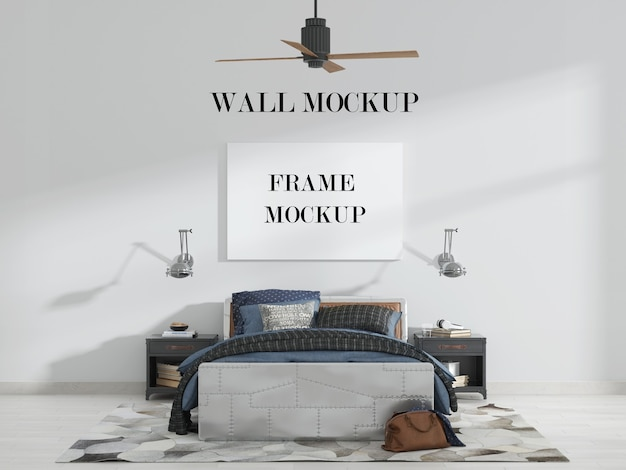 Bedroom wall and canvas mockup with fan lamp and furniture