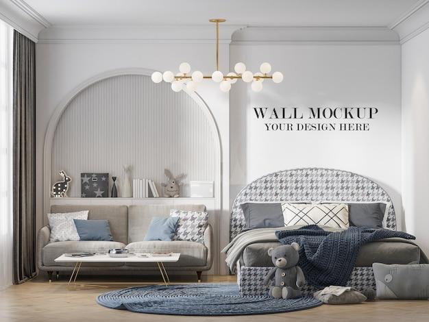 Bedroom wall mockup behind arch shaped headboard