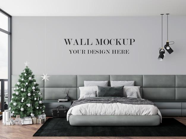 寝室の壁のモックアップクリスマスイブ