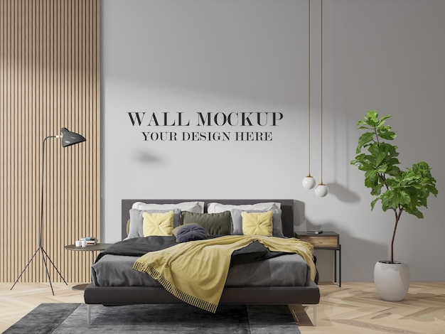 Bedroom wall mockup for textures