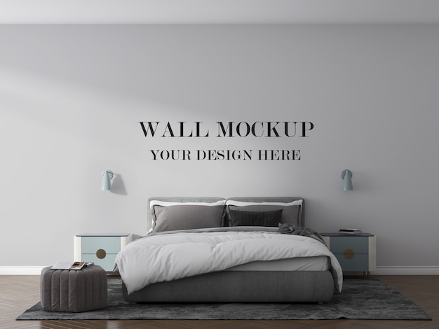 Bedroom wall mockup with bed and lamps