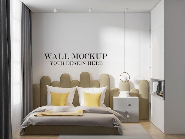 Bedroom wall template in 3d rendering scene