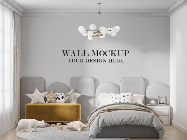 Bedroom wall template behind grey headboard
