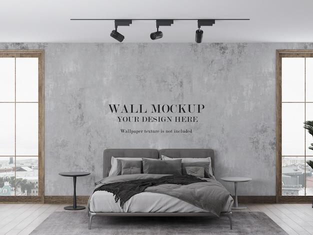 2つの窓の間の寝室の壁紙のモックアップ