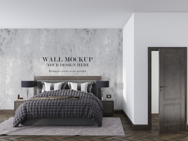 Bedroom wallpaper mockup in modern style interior