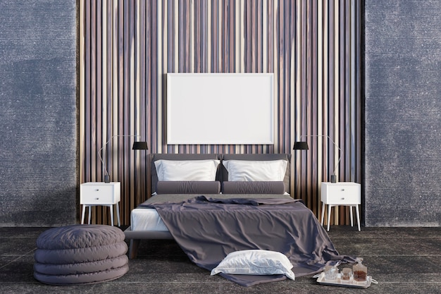 The bedroom with accent is made of wood