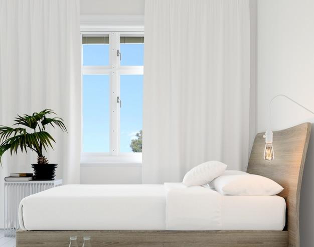 Спальня с кроватью и растением