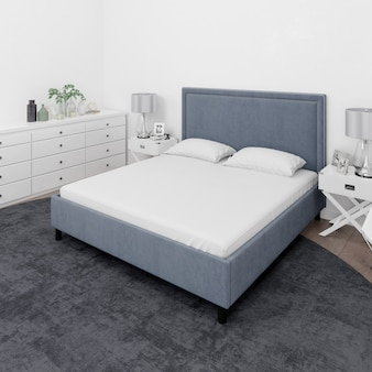 Bedroom with double bed and white furniture