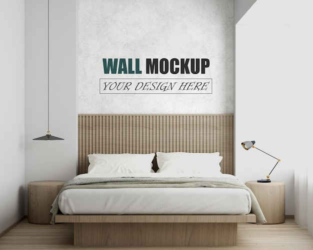 Bedroom with furniture made of wood wall mockup