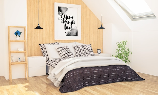 Bedroom with poster mockup on attic