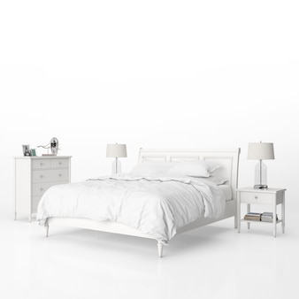 Bedroom with white furniture mockup