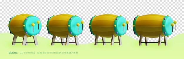 Элемент bedug 3d, подходящий для 3d-рендеринга рамадана и ид аль-фитра
