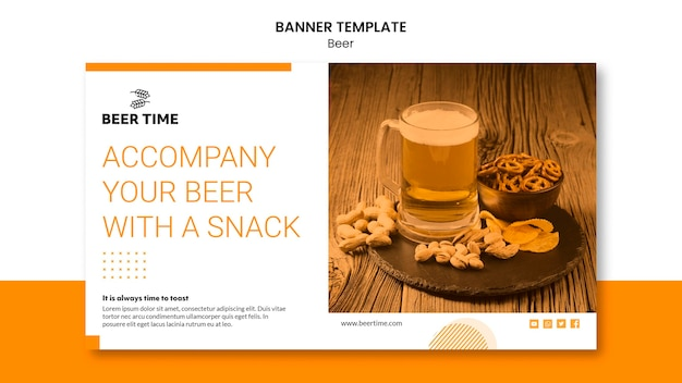 Beer banner template concept
