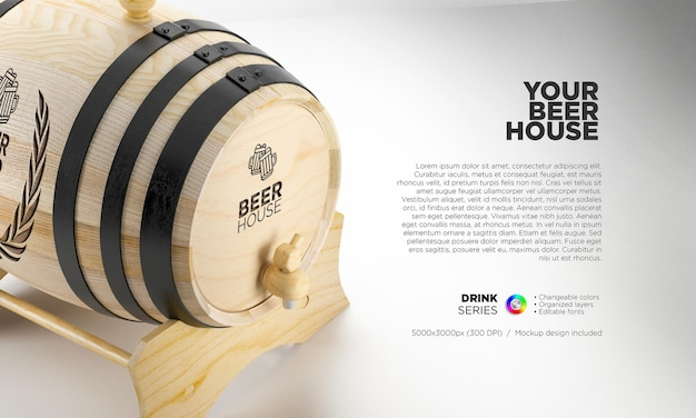 Beer barrel mockup for your brand name and logo