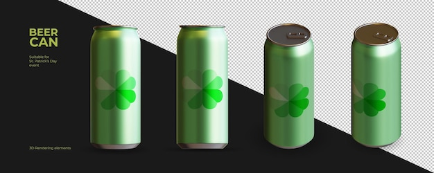 Элементы 3d-рендеринга пивной бутылки на день святого патрика