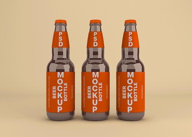 分離されたビール瓶ラベルのモックアップデザイン