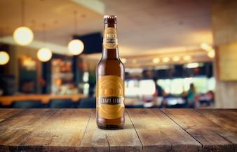 Beer bottle mockup on tabletop