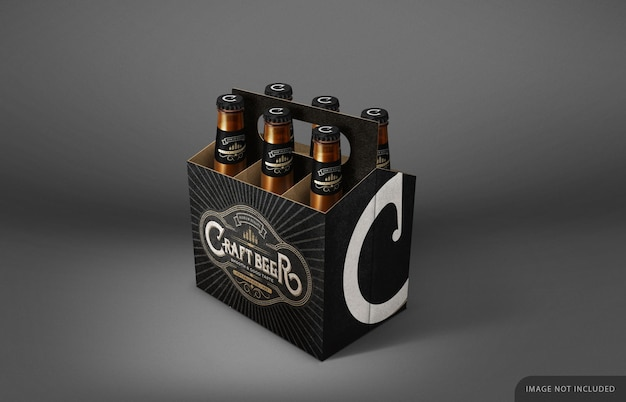 Beer bottle six pack mockup with neck label and cap