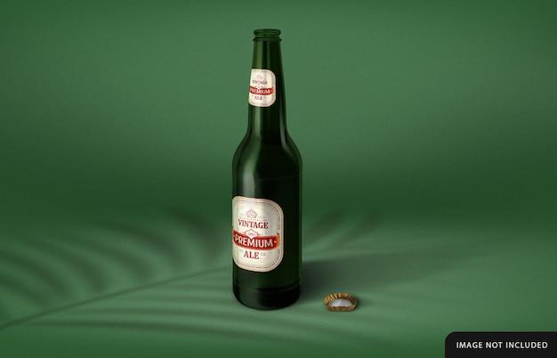Beer bottle with label mockup design