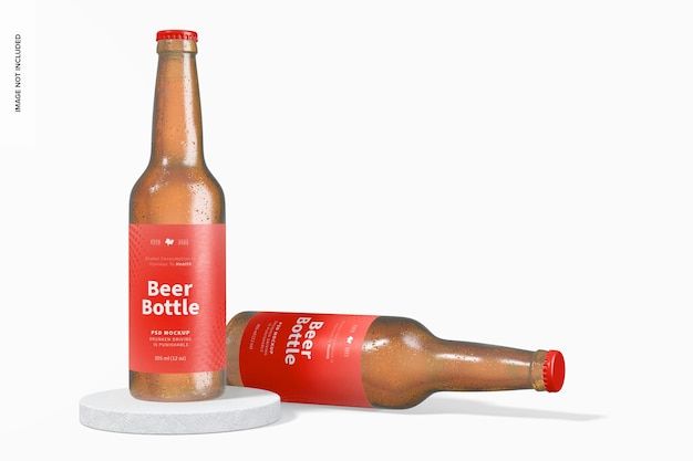 Beer bottles mockup, standing and dropped