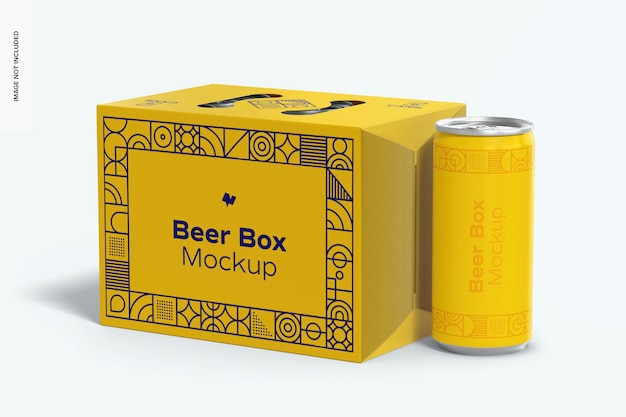 Beer box mockup, close up